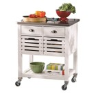 Atlin Designs Kitchen Cart with Stainless Steel Top in White