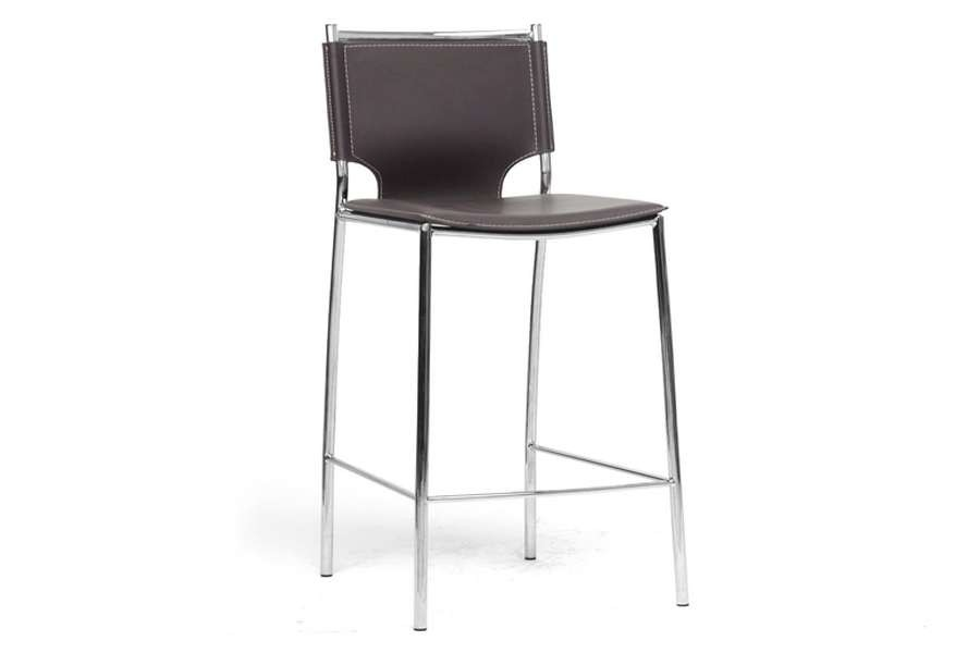 Baxton Studio Montclare Brown Leather Modern Counter Stool