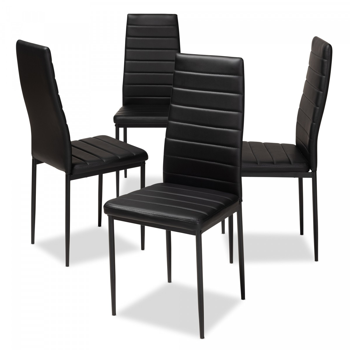 Cheap Black Dining Chairs: Baxton Studio Armand Modern & Contemporary Black Faux