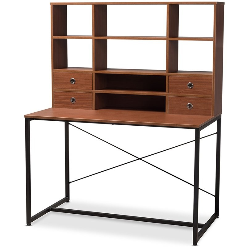 Baxton Studio Edwin Writing Desk With Bookcase Hutch In