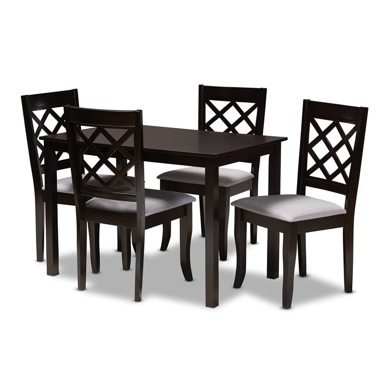 Cheap 5 Piece Dining Set: Baxton Studio Verner Grey Espresso Finished 5-Piece Wood