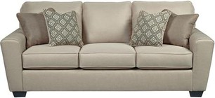 "Benchcraft Calicho Collection 9120338 87"" Sofa with Ikat Pattern Pillows  in Cream-Colored Woven Upholstery"
