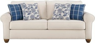 "Benchcraft Adderbury Collection 1440338 90"" Sofa with Bone-Tone Upholstery and Comfy lumbar Pillow in Bone"