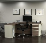 Bestar Furniture 99860-52 Prestige + L-shaped workstation including one pedestal in White Chocolate & Antigua