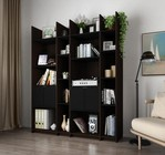 Bestar Furniture 16854-79 Small Space Storage Wall Unit in Dark Chocolate and Black