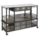 Beaumont Lane Marble Top Kitchen Cart in Silver
