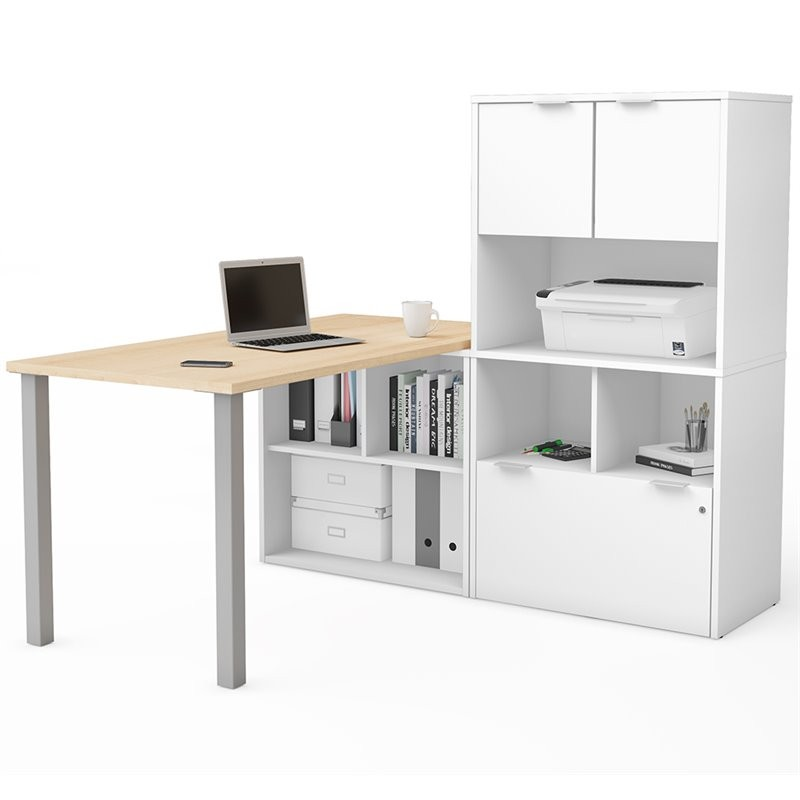 Bestar I3 Plus L Shape Computer Desk With Hutch In Maple