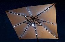Blue Wave NU6255 Santorini II Fiesta 10' Square Canopy Cantilever Umbrella with Active Solar Cells  LED Lights  Dual On/Off Switches Single Wind Vent  Rugged Anodized Aluminum Pole and Base: Stone
