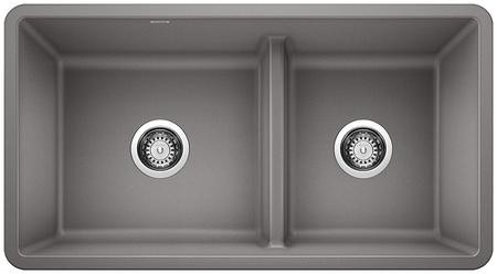 Blanco 442527 Precis Silgranit 1.75 Low Divide Undermount Kitchen Sink In  Metallic Gray