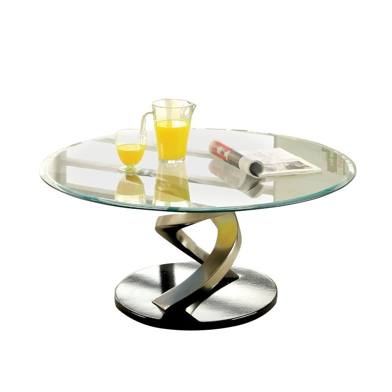 Bowery Kitchen Supplies: Bowery Hill Oval Glass Top Coffee Table In Satin