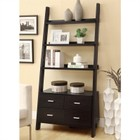 Bowery Hill Leaning Ladder Bookshelf with 2 Drawers in Cappuccino