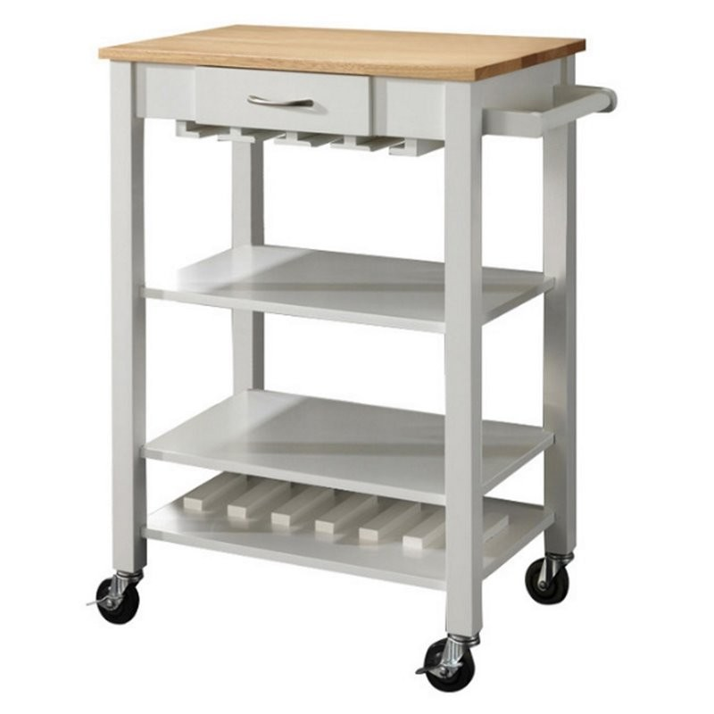 Bo518130 Bowery Hill Kitchen Cart With Butcher Block Top  In White And Natural