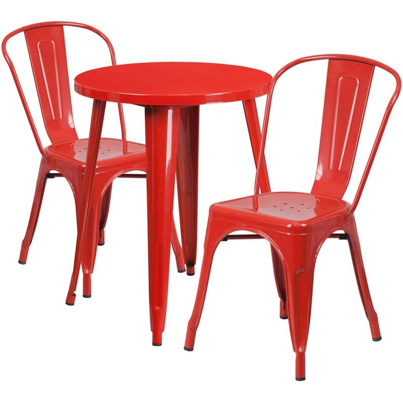 bowery hill 3 piece 24 round metal patio bistro set in red. Black Bedroom Furniture Sets. Home Design Ideas