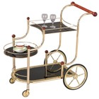 Bowery Hill Glass Serving Cart in Gold and Black