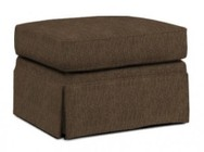"Broyhill Audrey 3762-5/8595-85 27"" Wide Ottoman with Casters  Skirt Bottom and Hand Tailored in 8595-85 Brown"