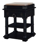 Bramble 24710 Mary Tudor Cortland Kitchen Island with 2 Shelves  Drawer  Metal Ring Pull and Turned Legs in Black Distressed Finish