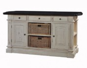 Bramble 23339 Roosevelt Kitchen Island with 2 Baskets  3 Drawers  2 Doors  Side Shelves and Teak Brown Top in Antique Cream Finish