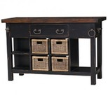 Bramble 23653 Aries Umbria Kitchen Island with 4 Removable Wicker Baskets  1 Drawer  Vintage Black Top and Bottom Shelf in Black Distressed Finish