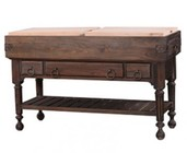 Bramble 23758 Roosevelt Large Boucherie with Drawers  Bottom Shelf  Metal Ring Pull and Turned Legs in Cocoa Finish