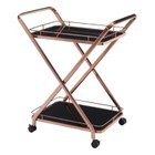 Brika Home Glass Kitchen Cart in Rose Gold