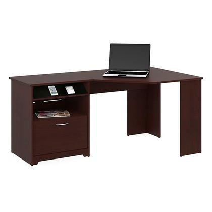 Bush Furniture WC31415 03 Cabot Collection Reversible Corner Desk In  Harvest Cherry Finish