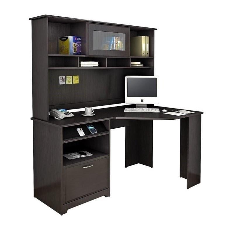 Bush Cabot 60 Corner Desk With Hutch In Espresso Oak L Shape Wood
