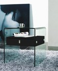 """Casabianca Bari Collection CB-J052-BL 20"""" Nightstand End Table with 1 Drawer  Glass Panels  Glass Top and Medium-Density Fiberboard (MDF) in High Gloss Black Finish"""