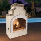 """Cal Flame FRP910-1 48"""" Outdoor Fireplace with 55 000 BTU  Fire Logs Set  LP Conversion  Ventilation  18"""" Grate  and Fire Box  in Stucco Options"""