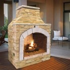 """Cal Flame FRP909-1 48"""" Outdoor Fireplace with 55 000 BTU  Fire Logs Set  LP Conversion  Ventilation  18"""" Grate  and Fire Box  in Stucco Options"""