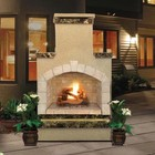 """Cal Flame FRP908-2 48"""" Outdoor Fireplace with 55 000 BTU  Fire Logs Set  LP Conversion  Ventilation  18"""" Grate  and Fire Box  in Stucco Options"""