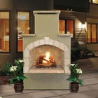 """Cal Flame FRP908-1 48"""" Outdoor Fireplace with 55 000 BTU  Fire Logs Set  LP Conversion  Ventilation  18"""" Grate  and Fire Box  in Stucco Options"""