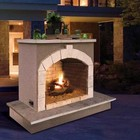 """Cal Flame FRP906-3 72"""" Outdoor Fireplace with 55 000 BTU  Fire Logs Set  LP Conversion  Ventilation  18"""" Grate  and Fire Box  in Stucco Options"""