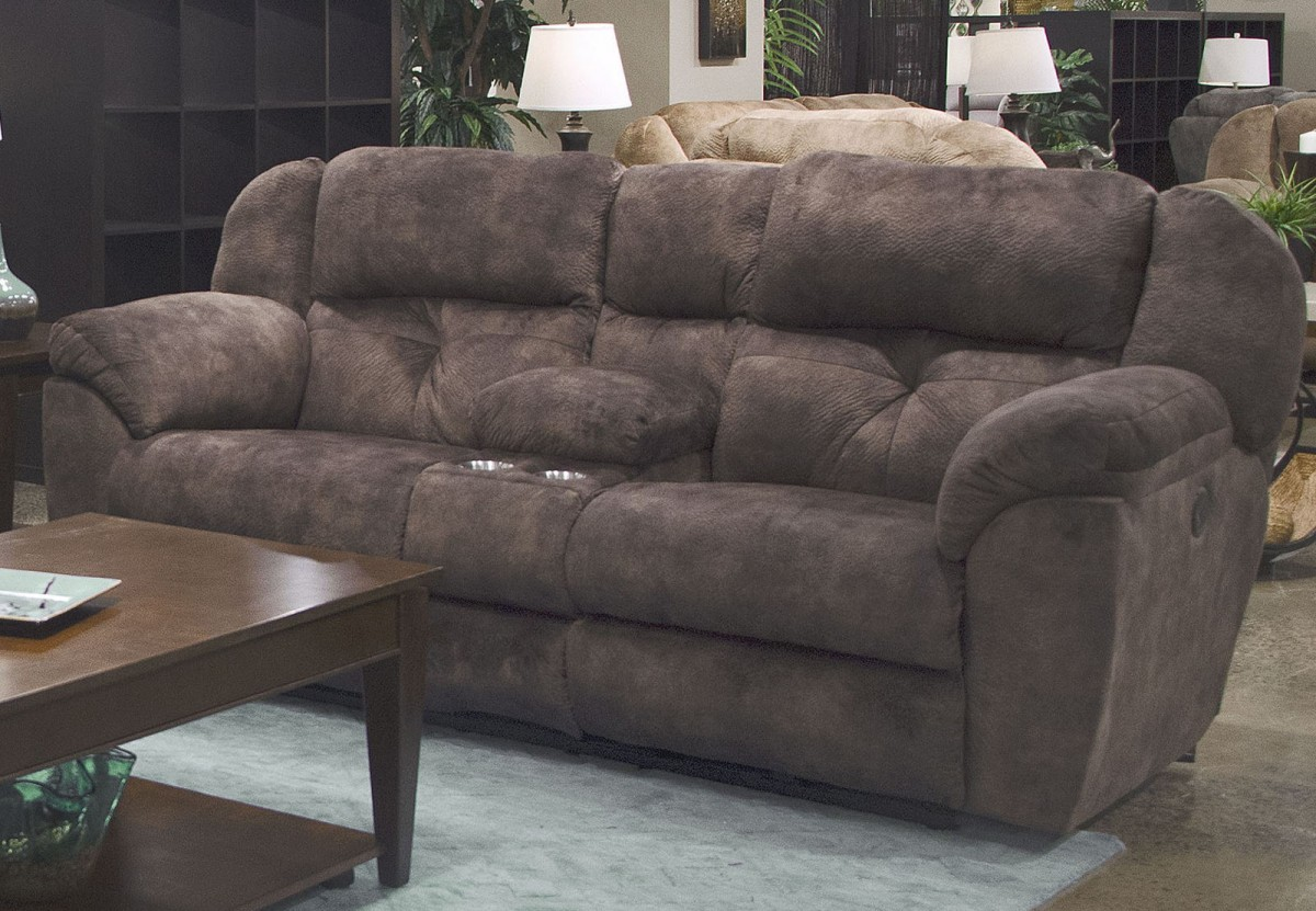 Catnapper Carrington Dusk Reclining Console Loveseat With