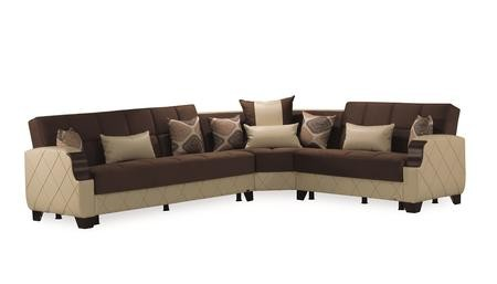 Tremendous Casamode Molina Collection Molina Sectional Dark Brown Cream 125 3 Piece Sectional Sofa With Left Arm Facing Sofa Bed Wedge And Right Arm Facing Gmtry Best Dining Table And Chair Ideas Images Gmtryco