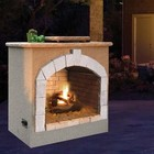"""Cal Flame FRP9061 48"""" Outdoor Fireplace with 55 000 BTU  Fire Logs Set  LP Conversion  Ventilation  18"""" Grate  and Fire Box  in Stucco Options"""