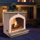 """Cal Flame FRP906-2 48"""" Outdoor Fireplace with 55 000 BTU  Fire Logs Set  LP Conversion  Ventilation  18"""" Grate  and Fire Box  in Stucco Options"""