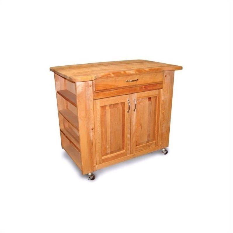 Cheap Butchers Block Kitchen Trolley : Catskill Deep Storage Large Butcher Block Kitchen Cart in Natural Discount Bandit