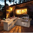 """Cal Flame LBK-870R 111.5"""" x 40"""" x 102.5"""" 2 Piece BBQ Island with 4 Burner Liquid Propane P4 Grill  Side Burner  Stainless Steel Refrigerator  Outdoor Electrical  Sink and Access Doors: Right"""