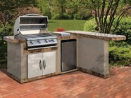 """Cal Flame LBK830R 95.5"""" x 40"""" x 72.5"""" BBQ Island with 4 Burner Liquid Propane P4 Grill  Side Burner  Stainless Steel Refrigerator  Outdoor Electrical and 30"""" Double Access Doors: Right"""