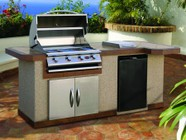 """Cal Flame LBK820R 95.5"""" x 38"""" x 48.5"""" BBQ Island with 4 Burner Liquid Propane P4 Grill  Side Burner  Stainless Steel Refrigerator and 30"""" Double Access Doors: Right"""