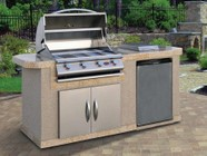 """Cal Flame LBK701 83.5"""" x 38"""" x 27"""" BBQ Island with 4 Burner Liquid Propane P4 Grill  Side Burner  Stainless Steel Refrigerator and 30"""" Double Access Doors"""