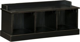 """Chelsea Home Furniture Friendship 465229B 47.25"""" Hall Bench with 3 Open Storage Cubbies and Premium Grade Pine Wood Construction in Black Color"""