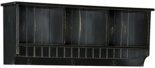 """Chelsea Home Furniture Friendship 465228B 47.25"""" Hall Shelf with 3 Shelves  Metal Hooks and Premium Grade Pine Wood Construction in Black Color"""