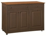 "Chelsea Home Furniture Stellas 4650242FBS 49.5"" Kitchen Island with 2 Doors  2 Drawers  Metal Knobs  Casters and Premium Grade Pine Wood Construction in Ferret Brown and Sealy Color"