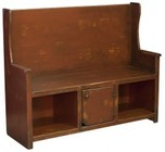 """Chelsea Home Furniture Ye Olde 465236C 50"""" Bench with 1 Door  2 Open Cubbies  Hole  High Back and Premium Grade Pine Wood Construction in Distressed Antiqued Cranberry Color"""