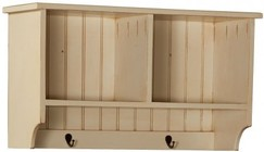 """Chelsea Home Furniture Friendship 465226B 32.5"""" Hall Shelf with 2 Shelves  2 Metal Hooks and Premium Grade Pine Wood Construction in Buttermilk Color"""