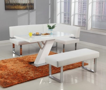 Chintaly LINDEN-3PC LINDEN DINING Set - Modern Design Gloss White Dining  Table White Nook and White Long Bench