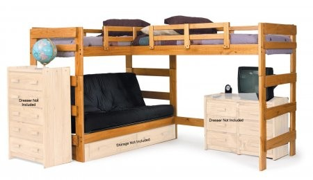 Chelsea Home Furniture 3662001 L Shaped Futon Loft Honey Futon