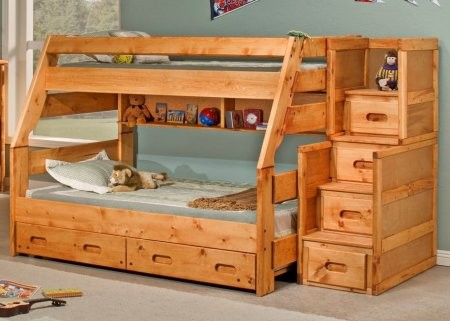Chelsea Home Furniture 3544720 4754 Twin Over Full Bunk Bed With Stairway Chest Cinnamon