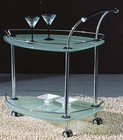 "Chintaly TEA-CART 29.92"" Rolling Tea Cart in Frosted Triangular Glass"